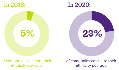 In 2018, 5% of companies calculate their ethnicity pay gap. In 2020, 23% of companies calculate their ethnicity pay gap.
