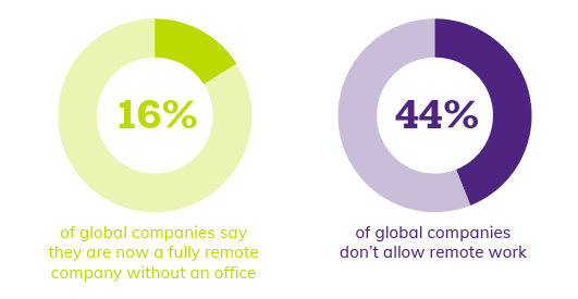 16% of global companies saying they are now a fully remote company without an office, 44% of global companies don't allow remote work